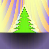Christmas tree silhouette on orange curtain Royalty Free Stock Photography