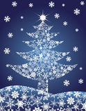 Christmas Tree Silhouette Snowflakes Illustration Royalty Free Stock Photography
