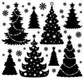 Christmas tree silhouette theme 1 Stock Image