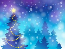 Christmas tree silhouette topic 4 Royalty Free Stock Images