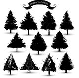 Christmas tree silhouettes collection Stock Photos