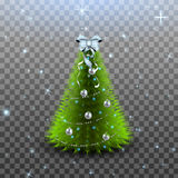 Christmas tree with silver balls, garland and bow on the top isolated. On transparent background Royalty Free Stock Photos