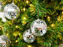 Christmas tree and silver balls. Christmas tree with many silver balls decoration stock photo
