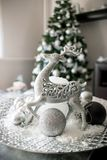 Christmas tree and silver decoration stock photos