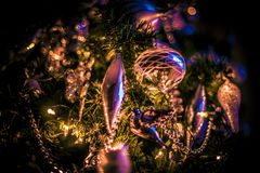 Christmas tree. In silver in the evening light Royalty Free Stock Photos