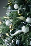 Christmas tree. Silver and golden balls. Close up royalty free stock photo