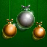 Christmas tree silver and golden realistic shiny. Glass balls on green background. RGB EPS 10 vector illustration Royalty Free Stock Image