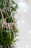 Christmas Tree with Silver Icicles Royalty Free Stock Photos