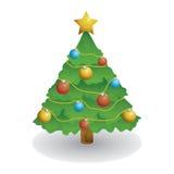 Christmas Tree with Simple Decoration Stock Photos