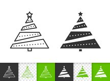 Christmas Tree simple fir black line vector icon stock illustration