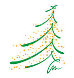 Christmas tree sketch. An abstract of Christmas tree with sketch stroke and yellow stars as decoration Royalty Free Stock Photos