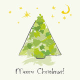 Christmas tree sketch. Christmas card with ink Christmas tree Stock Photos