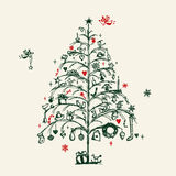 Christmas tree sketch vector illustration