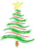 Christmas Tree Sketch. Crayon-type rendering of a Christmas tree vector illustration