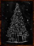 Christmas Tree Sketch on Blackboard. Wallpaper holiday Royalty Free Stock Photos