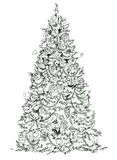 Christmas tree, sketch, Kid's dreams. Holidays stock illustration