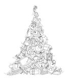 Christmas tree, sketch, Kid's dreams Stock Photography