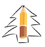 Christmas tree sketch with pencil Stock Images