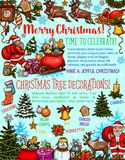 Christmas tree sketch poster of New Year holiday. Christmas tree decoration festive poster of New Year holiday celebration. Santa with gift, Xmas tree and Royalty Free Stock Photography