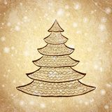 Christmas tree sketch on vintage background Royalty Free Stock Images