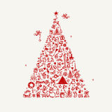 Christmas tree sketch for your design Stock Photo