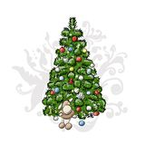 Christmas tree, sketch for your design Royalty Free Stock Photography