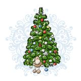 Christmas tree, sketch for your design Stock Photography