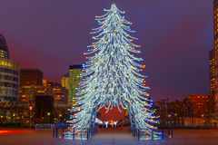 Christmas tree among the skyscrapers in Paris, France. Stock Photography