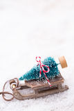 Christmas tree on the sled. Christmas and new year gold theme background Royalty Free Stock Image