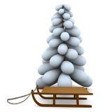 Christmas tree and sledge Stock Image