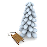Christmas tree and sledge Royalty Free Stock Photography