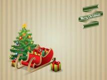 Christmas tree and sleigh Stock Photos