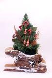 Christmas tree on a sleigh. Royalty Free Stock Photo