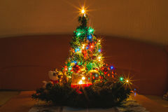 Decorated Christmas Tree. Small decorated Christmas tree, located indoor Stock Photography