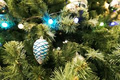Christmas tree and small and decoration with blue light stock photo