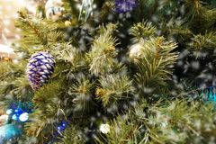 Christmas tree and small and decoration with many gift box and white bokeh royalty free stock photography