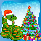 Of a Christmas tree and a snake with gifts Royalty Free Stock Image