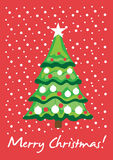 Christmas tree in snow royalty free illustration