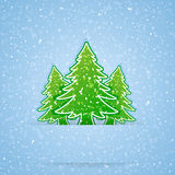 Christmas tree and snow Stock Photo
