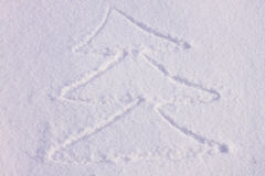 Christmas tree on a snow Royalty Free Stock Photos