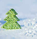 Christmas tree on snow Royalty Free Stock Photo