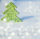Christmas tree on snow Royalty Free Stock Photography