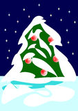 Christmas tree and snow. Christmas tree with snow and stars Royalty Free Stock Photo