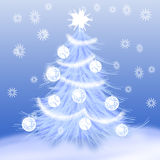 Christmas tree & snow Stock Image