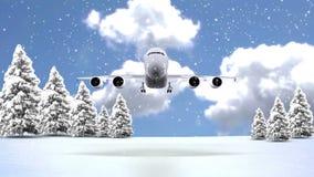 Christmas Tree and Snow airplane 2015 stock video footage