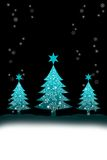 Christmas tree with snow background Stock Image