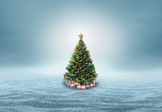 Christmas Tree In A Snow Background Royalty Free Stock Photos