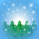 Christmas tree on snow background Stock Image
