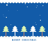 Christmas tree and snow with blue background. Greeting card background Royalty Free Stock Image