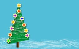 Christmas tree snow blue copys. Stylized illustration of Christmas tree on blue background with ephemeral wavy white lines simulating snow. Plenty of copy space Stock Photography